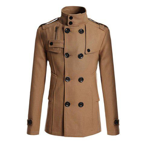 Korean Turndown Collar Double-Breasted Long Sleeves Polyester Trench Coat For Men - CAMEL L