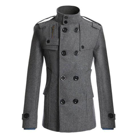 Korean Turndown Collar Double-Breasted Long Sleeves Polyester Trench Coat For Men - GRAY L