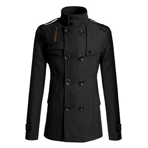 Korean Turndown Collar Double-Breasted Long Sleeves Polyester Trench Coat For Men - BLACK L