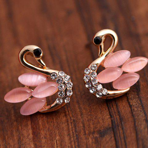 Pair of Rhinestone Faux Opal Cygnet Stud Earrings - PINK