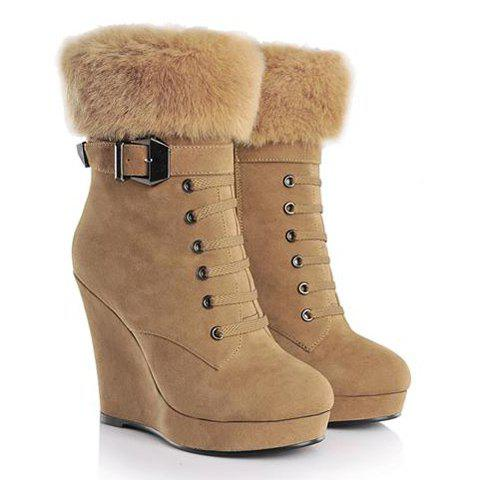 Mature Faux Fur and Buckle Design Women's Short Boots - BROWN 37
