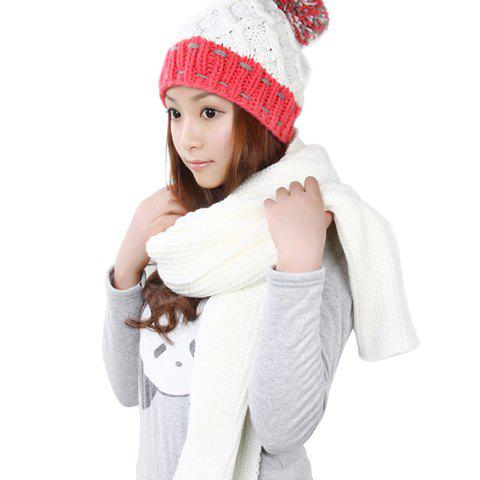 2PCS of Colored Fluffy Ball Embellished Knitting Yarn Hat and Scarf For Women - WHITE