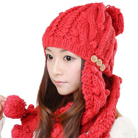 2PCS of Solid Color Fluffy Ball Embellished Detachable Knitting Yarn Hat and Scarf For Women - RED