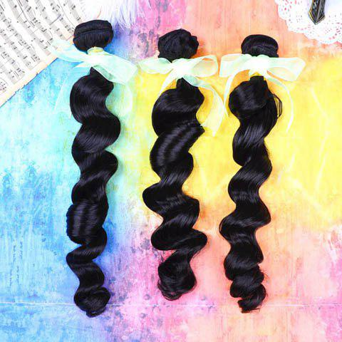 20 Inches High Quality Loose Wavy Peruvian Human Hair Women's Hair Extension - BLACK