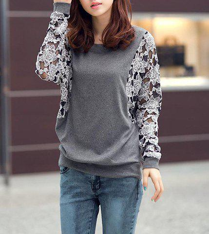 Casual Round Collar Lace Splicing Floral Pattern Batwing Sleeves Loose-Fitting Women's T-Shirt stylish round collar batwing sleeve hand print loose fitting women s t shirt