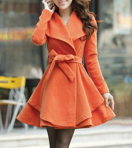 Belted Turn-Down Collar A Line Wool Blend Coat - JACINTH M
