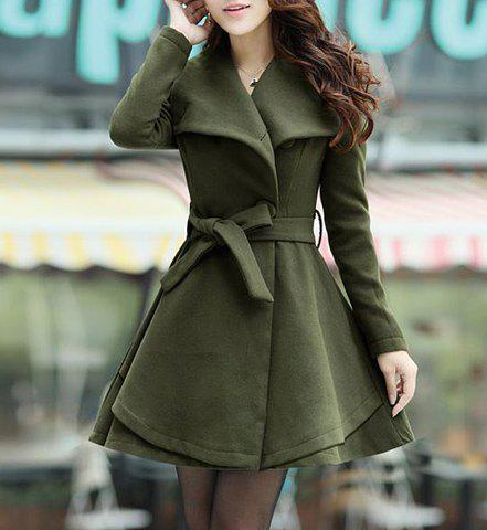 Belted Turn-Down Collar A Line Wool Blend Coat - ARMY GREEN M