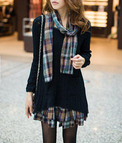 Sweet Scoop Neck Faux Twinset Hollow Out Checked Splicing Long Sleeves Women's Sweater Dress - BLACK XL