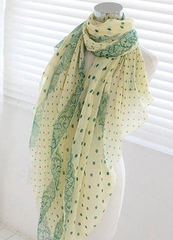 Chic Dot Embellished Long Scarf For Women - GREEN