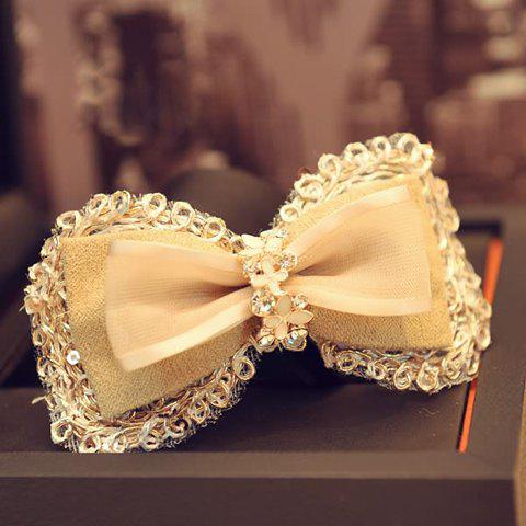 Exquisite Diamante Multi-Layered Bowknot Hairpin For Women - LIGHT APRICOT