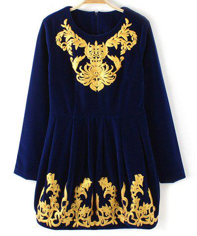 Stunning Style Round Collar Back Zipper Floral Print Color Splicing Velour Women's Dress - BLUE S
