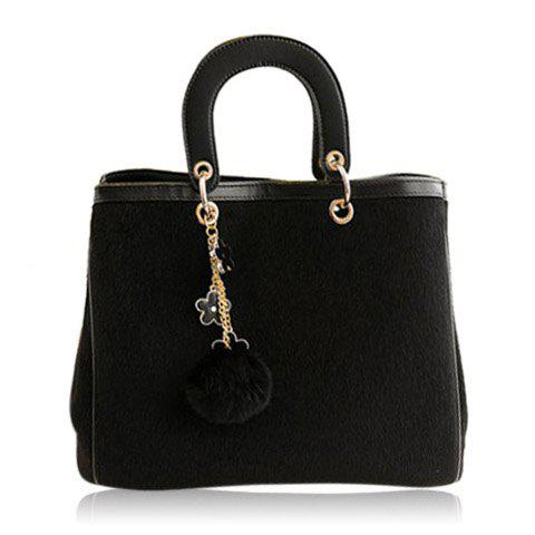 Pretty Splice and Pendant Design Tote Bag For Women - BLACK