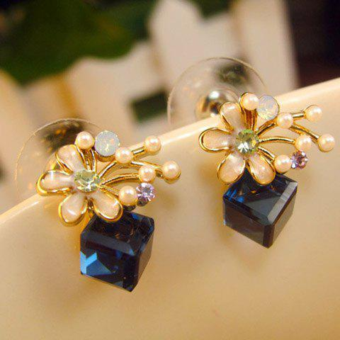 Pair of Exquisite Colored Faux Crystal Cube Embellished Flower Earrings For Women - BLUE