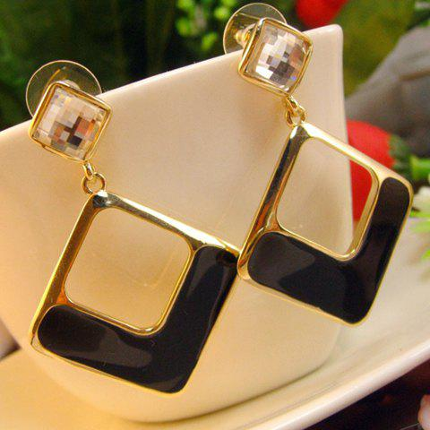 Pair of Glazed Hollow Out Square Earrings - AS THE PICTURE