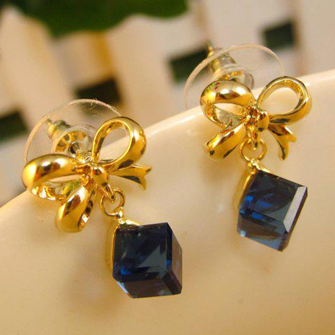 Pair of Fashion Faux Crystal Cube Embellished Bowknot Earrings For Women - COLOR ASSORTED
