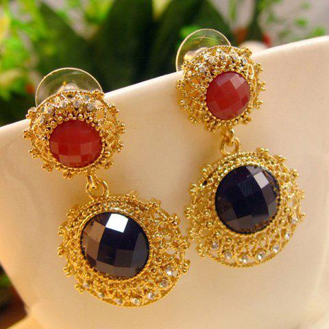 Pair of Vintage Diamante Colored Faux Gemstone Earrings For Women - BLACK