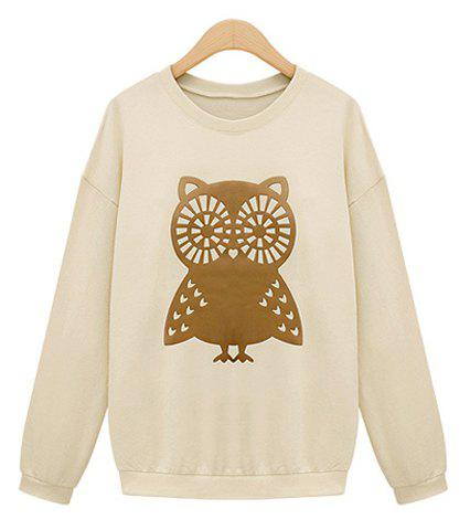 Casual Scoop Collar Owl Embellished Long Sleeves Loose-Fitting Women's Sweatshirt - WHITE L