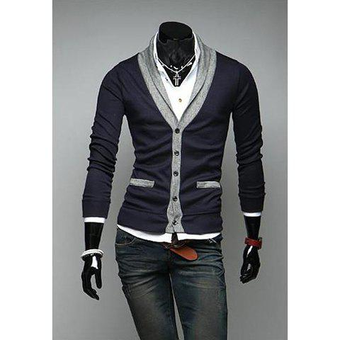 Preppy Style Color Block V-Neck Long Sleeves Cotton Blend Cardigan For Men - NAVY XL