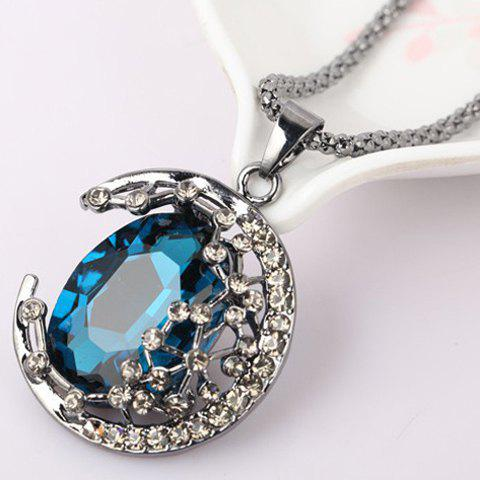 Ethnic Style Colored Faux Crystal Embellished Crescent Sweater Chain Necklace For Women - BLUE