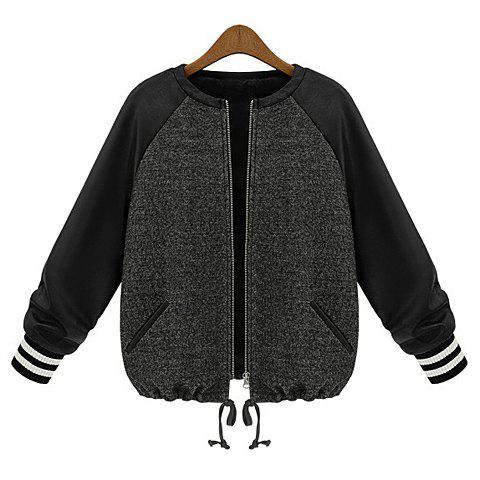 Fashionable Round Collar Zipper PU Leather Splicing Color Matching Long Sleeves Slimming Coat For Women - AS THE PICTURE XL