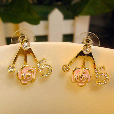 Pair of Diamante Number Rose Embellished Earrings - GOLD