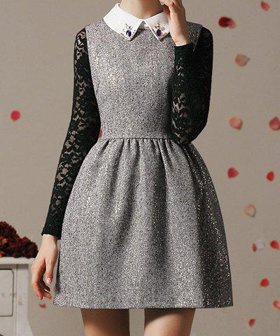 Vintage Flat Collar Color Block Sleeveless Dress For Women - GRAY L