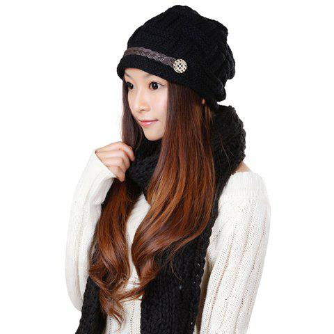 2PCS of Solid Color Sennit Embellished Knitting Yarn Hat and Scarf For Women - BLACK