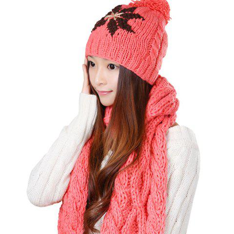 2PCS of Fashion Fuzzy Ball Embellished Printed Knitting Yarn Hat and Scarf For Women