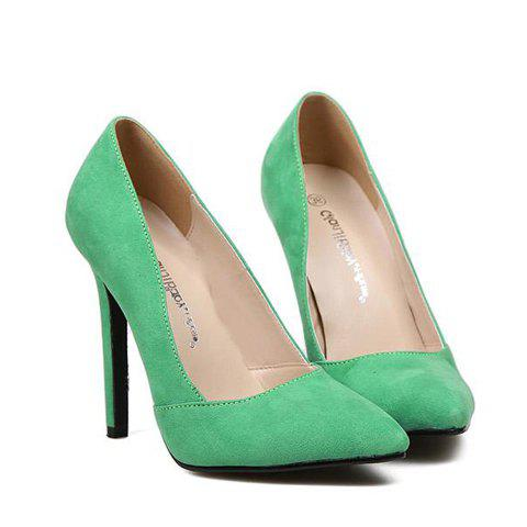 Elegant Pointed Toe and Suede Design Pumps For Women - GREEN 38