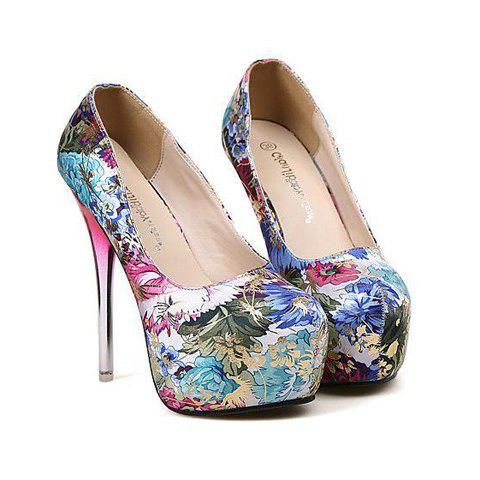 Sexy Floral Print and Round Toe Design Pumps For Women - BLUE 40