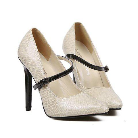 Simple Pointed Toe and Buckle Design Pumps For Women - BEIGE 35
