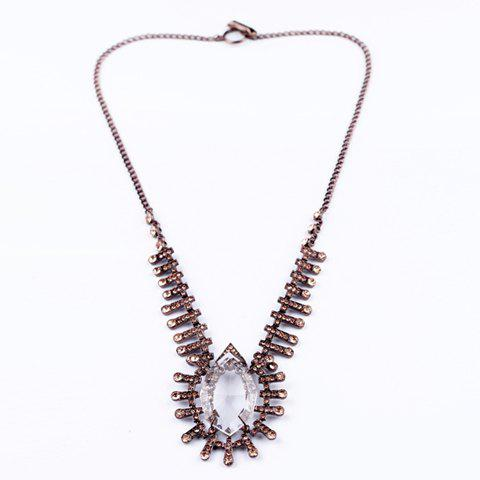 Vintage Chic Faux Crystal Pendant Long Alloy Necklace For Women
