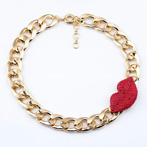 Characteristic Diamante Red Lip Pendant Thick Chain Alloy Necklace For Women - AS THE PICTURE