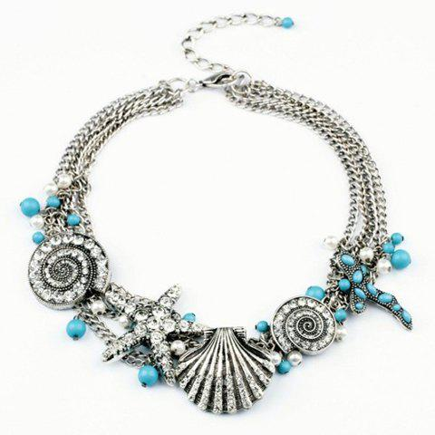 Exquisite Diamante Starfish and Shell Pendant Alloy Necklace For Women - AS THE PICTURE