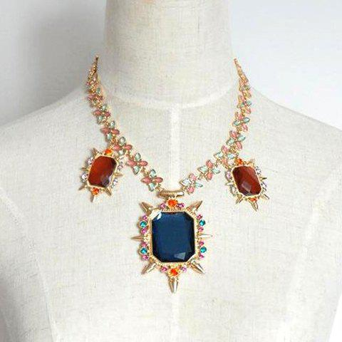 Fashion Chic Rivet Embellished Faux Gemstone Pendant Alloy Necklace For Women - AS THE PICTURE