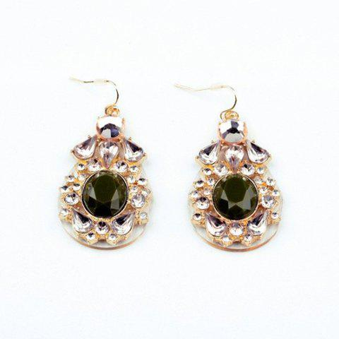Pair of Fashionable Faux Crystal Embellished Waterdrop Shape Pendant Earrings For Women - AS THE PICTURE