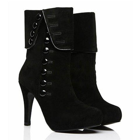 Suede Button Mid Calf Boots - BLACK 38