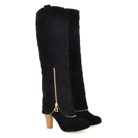Elegant Suede and Zipper Design Knee High Boots For Women - BLACK 39