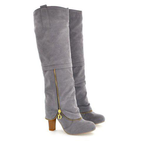 Elegant Suede and Zipper Design Knee High Boots For Women - GRAY 38