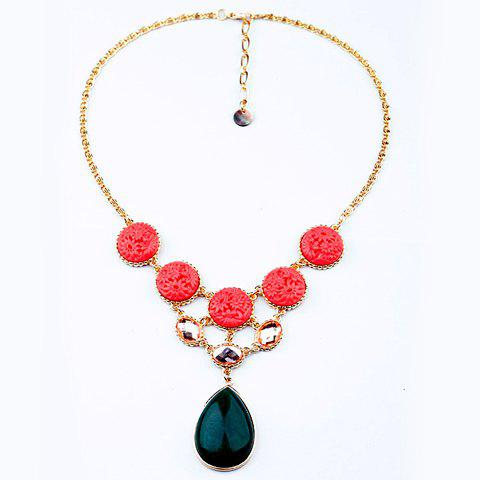 Ethnic Style Carved Flower Embellished Stone Pendant Alloy Necklace For Women retro carved metal pendant necklace for women