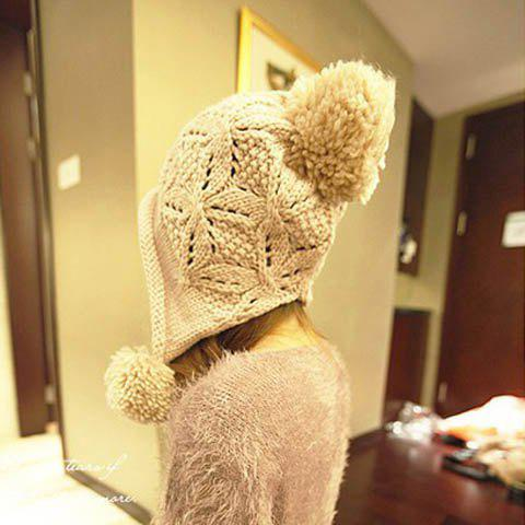 Sweet Big Ball Embellished Solid Color Woolen Cap For Women - BEIGE