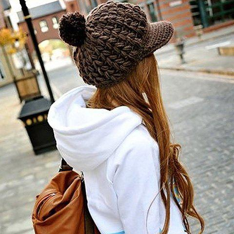 Warm Fluffy Ball Embellished Solid Color Woolen Cap With Button For Women