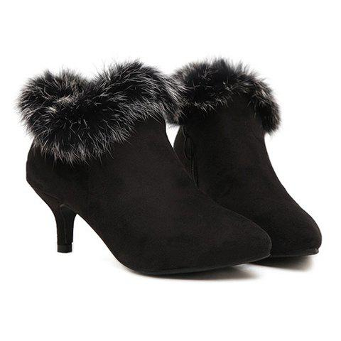 Elegant Style Kitten Heel and Faux Fur Design Women's Ankle Boots ...