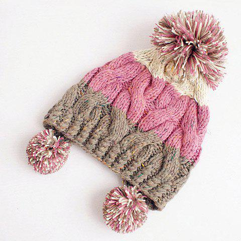 Chic Colored Ball Embellished Polychrome Woolen Cap For Women - PINK
