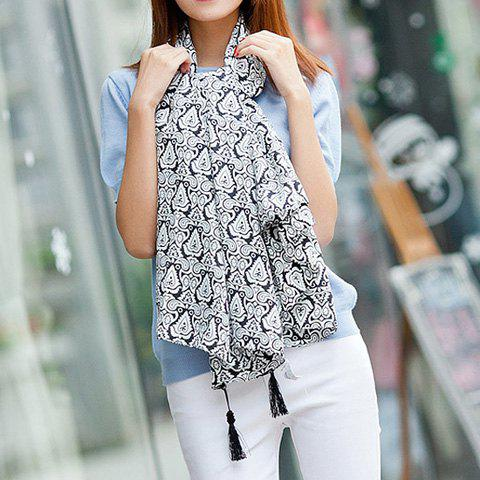 Ethnic Style Printed Long Scarf With Tassels For Women - BLACK