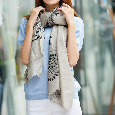 Versatile Elegant Eagle Pattern Long Scarf For Women - KHAKI
