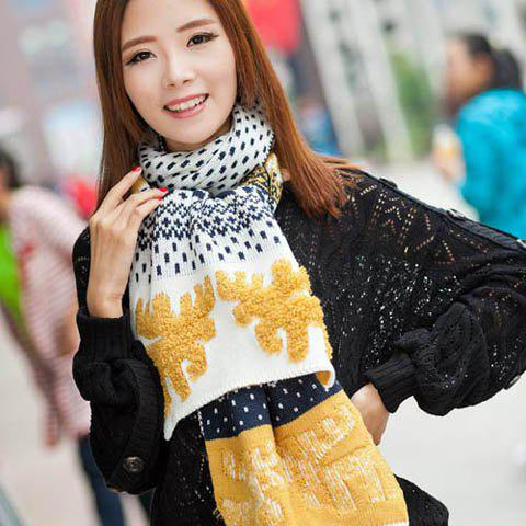 Vintage Christmas Deer Print Colored Long Winter Scarf For Men and Women - COLOR ASSORTED
