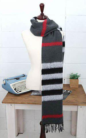 Warm Colored Striped Long Scarf With Tassels For Women - COLOR ASSORTED