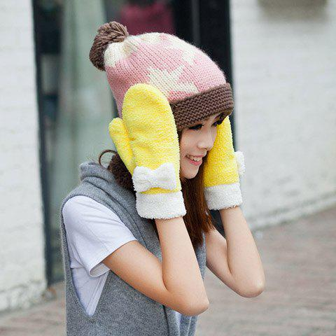 Pair of Sweet  Bowknot Embellished Colored Gloves For Winter For Women - COLOR ASSORTED