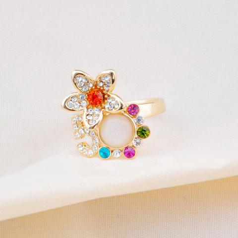 Sweet Chic Colored Diamante Flower Embellished Alloy Ring For Women - COLOR ASSORTED ONE SIZE
